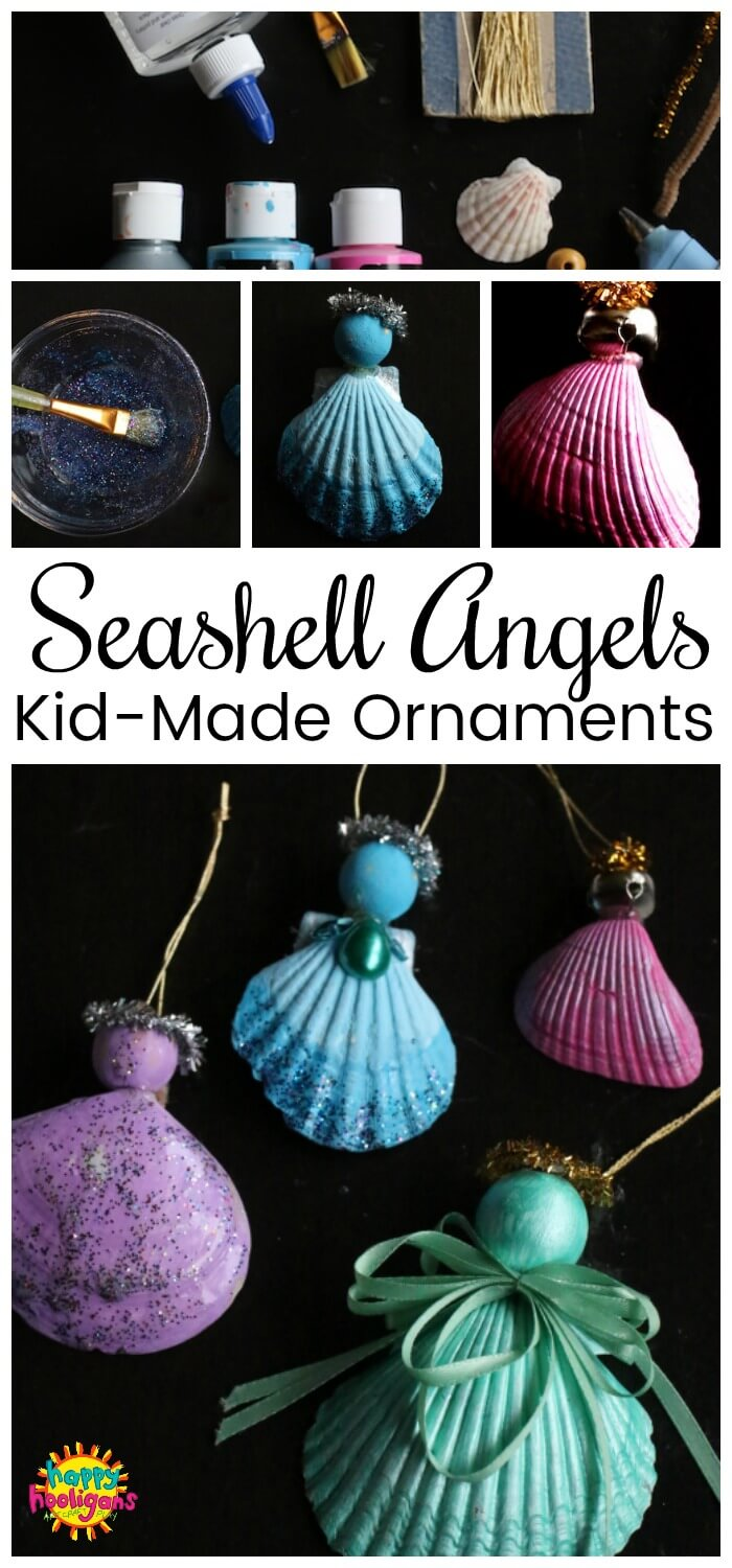 These seashell angel ornaments are fun and easy for kids to make for the Christmas tree. Minimal supplies and great for kids of all ages. #HappyHooligans #KidsCrafts #CHristmasCraftsForKids, #OceanCrafts, #Sheshells #Shells #Angels #AngelCrafts #HolidayCrafts