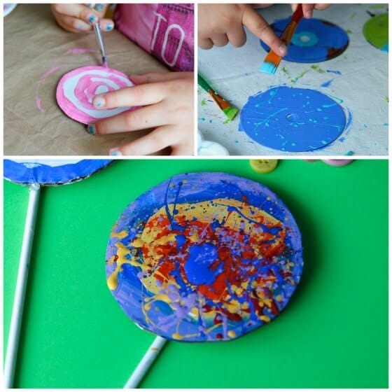 kids painting cardboard circles for lollypop ornaments