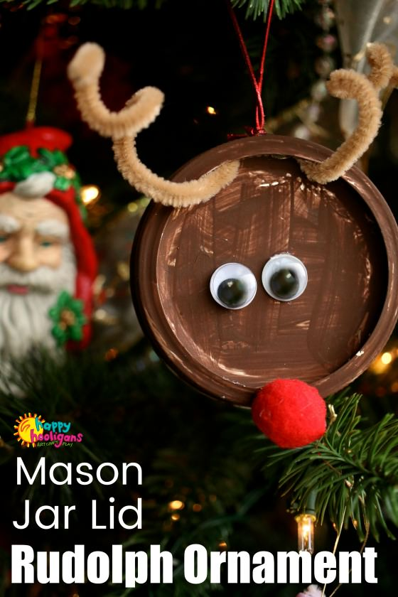Mason Jar Lid Reindeer Ornament for Kids to Make