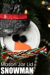 Mason Jar Lid Snowman Ornament