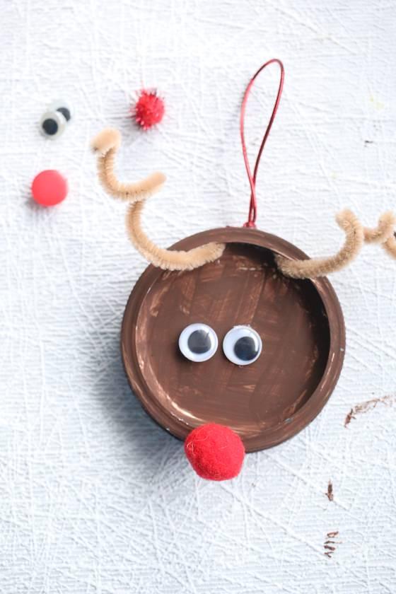 Mason Lid Rudolph Reindeer Ornament