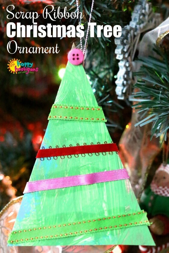 No-Tie Ribbon Christmas Tree Craft for Toddlers and Preschoolers