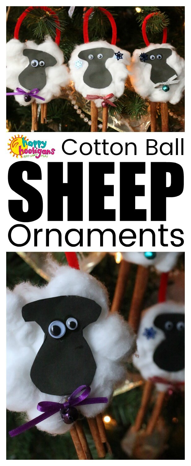 This adorable sheep ornament craft is fun and easy for kids to make for the Christmas tree this year. Cotton balls and cinnamon sticks provide a nice sensory element to the craft. #HappyHooligans #SheepCrafts #HomemadeOrnaments #ChristmasCrafts #KidsCrafts #Christmas #Ornaments #CraftsForKids #HolidayCrafts #CottonBalls #PreschoolCrafts #DaycareCrafts #ChristmasTreeOrnaments