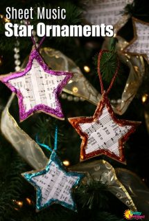 Sheet Music Star Ornaments for Kids to Make