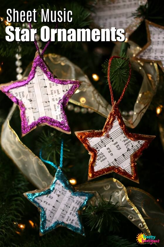 Easy Sheet Music Star Ornaments for Kids to Make