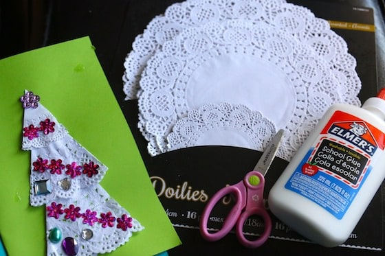 Supplies for Doily Christmas Tree Card