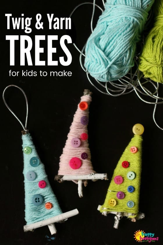 Twig and Yarn Christmas Tree Ornaments for Kids to Make