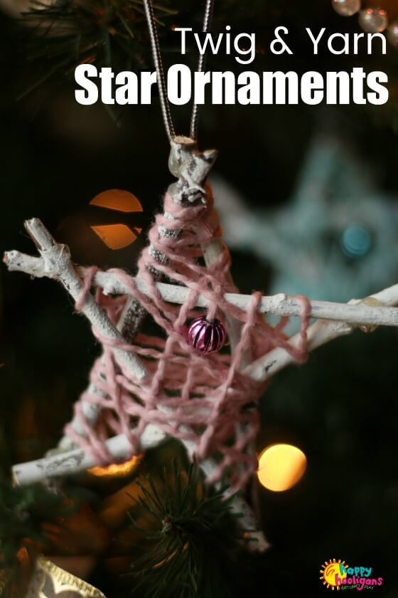 Twig and Yarn Star Ornaments for Kids to Make
