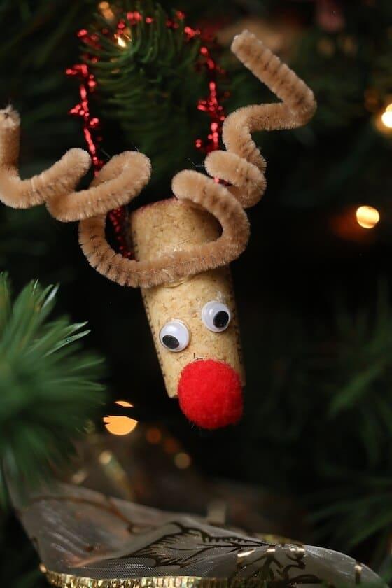 Wine Cork Reindeer Ornament on Tree