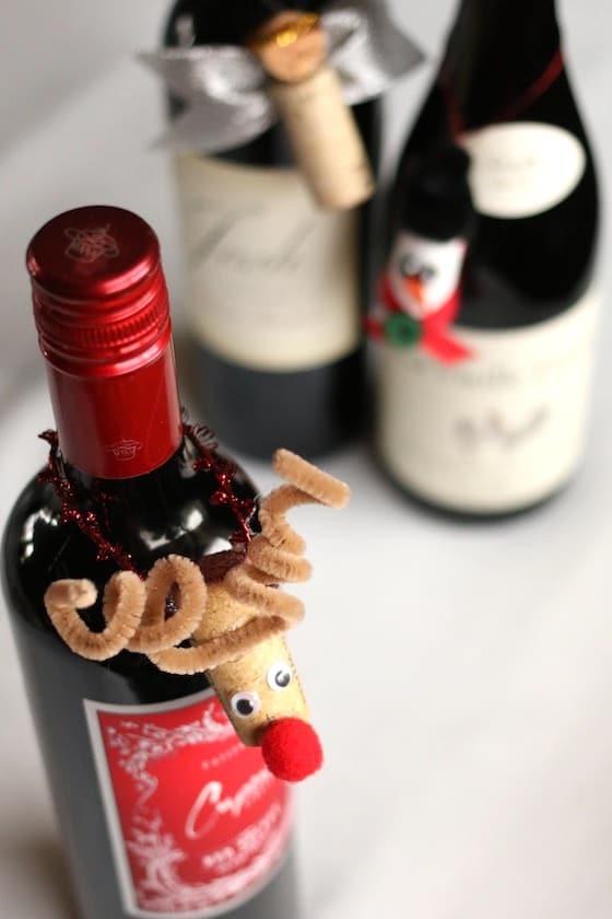 Wine Cork Reindeer on Wine Bottle