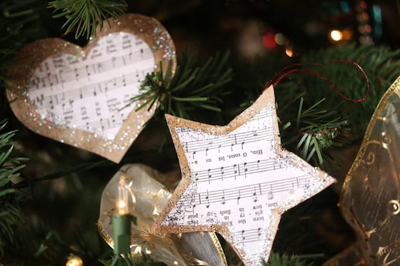 simple cardboard sheet music star ornaments with glitter glue