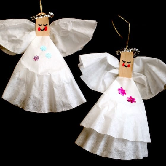 coffee filter angels black background