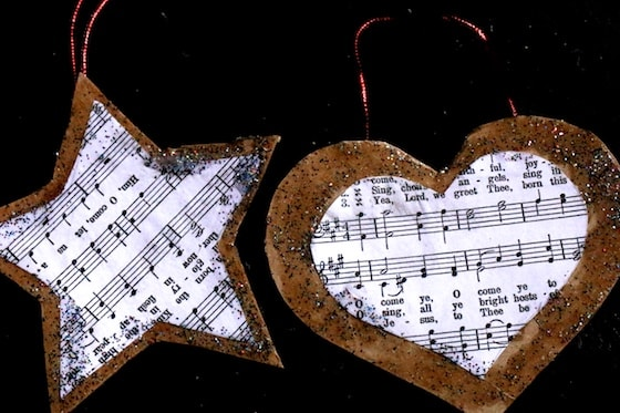 cookie cutter sheet music ornaments