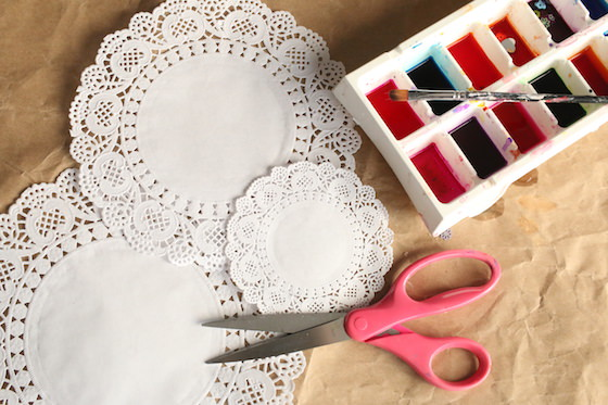 doilies scissors watercolours