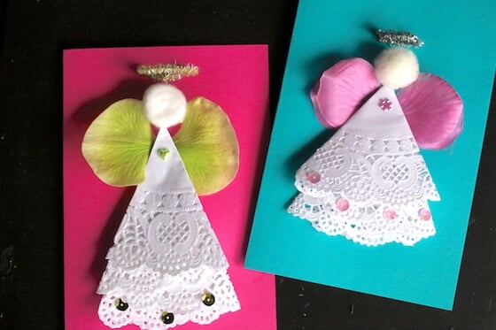 doily angel cards with sequins
