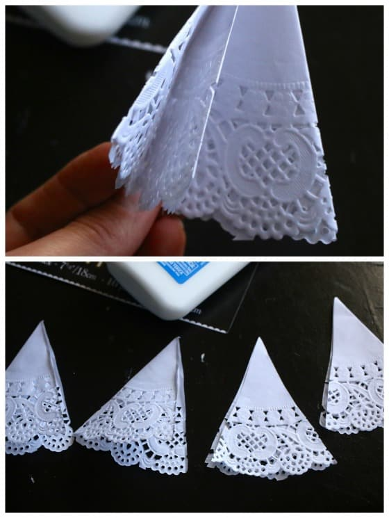 how to fold doily for christmas tree card