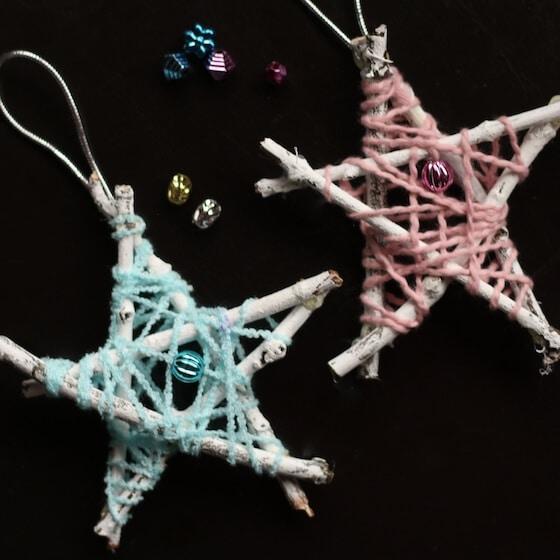 pink and blue yarn twig star