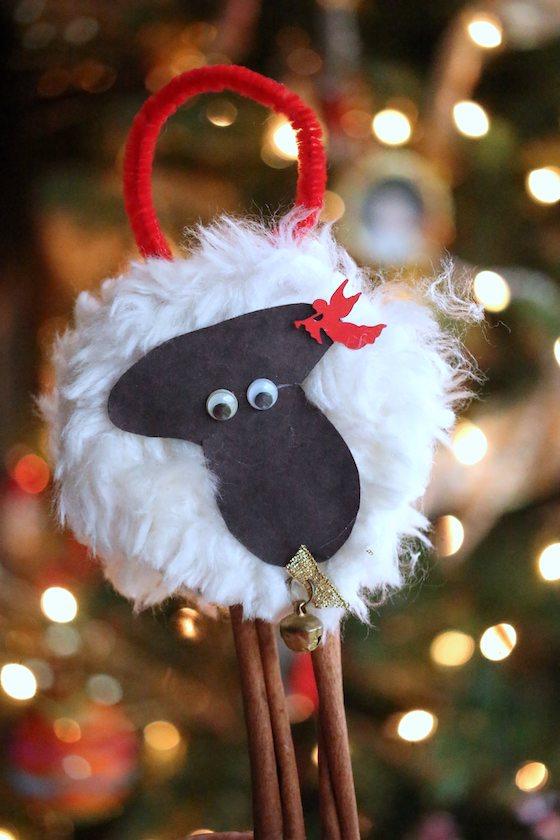 preschool sheep ornament craft on Christmas tree