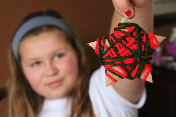 red and green yarn wrapped star ornament