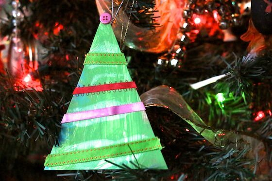 Scrap Ribbon Christmas Tree Ornament for Preschoolers