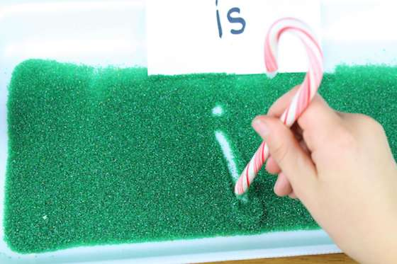 sight words in christmas sprinkles writing tray