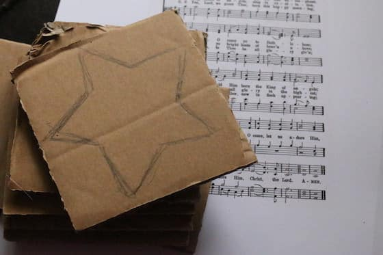 stars traced on cardboard