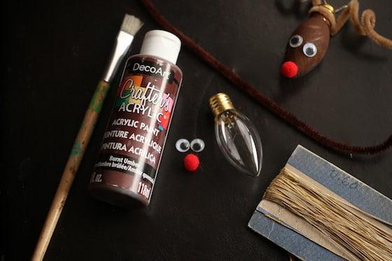 supplies for Christmas Bulb Reindeer