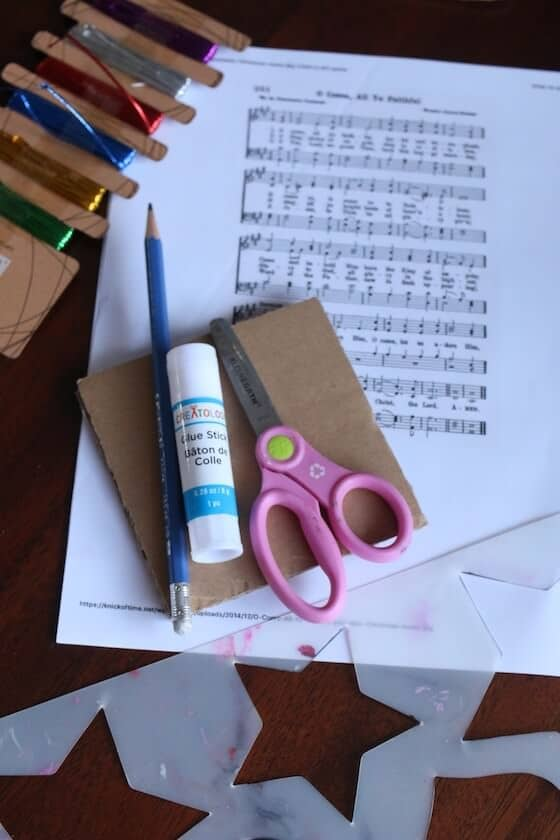 supplies for making sheet music star ornaments