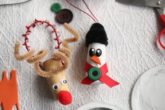 wine cork rudoph and snowman ornaments