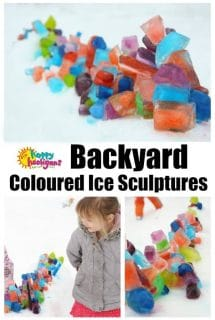 Coloured Ice Sculptures in the Snow