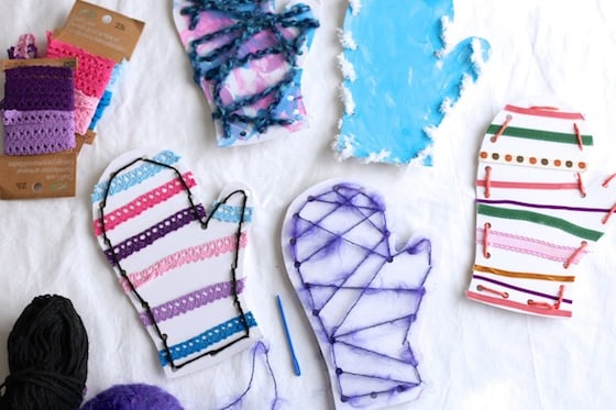 Mitten Lacing Cards for Toddlers, Preschoolers and teaching older kids how to sew
