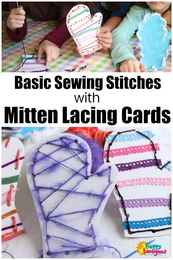 Homemade Mitten Lacing Cards