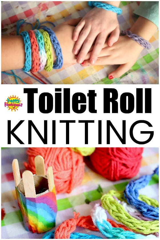 Toilet Roll Knitting with a homemade cardboard roll-