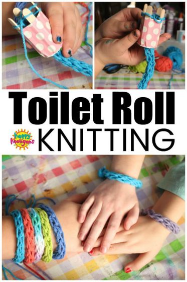Spool knitting with cardboard roll