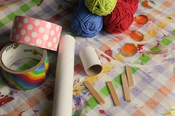 suppies for cardboard roll french knitting