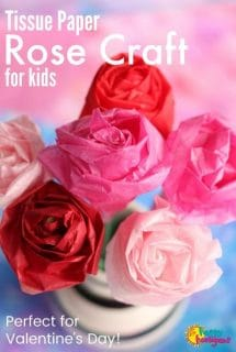 Tissue Paper Rose Craft for Kids