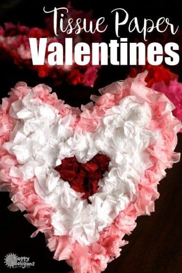 Tissue Paper Valentines Heart Craft