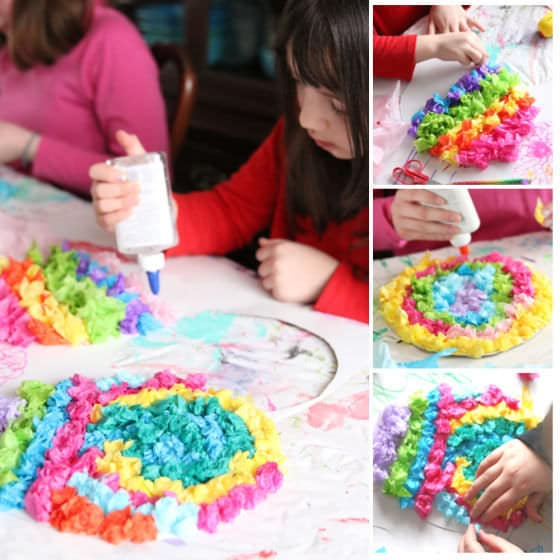 Kids crumpling tissue paper and glueing to paper Easter Egg