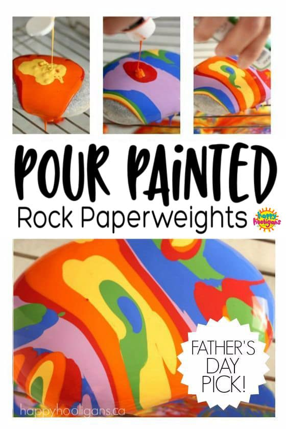 Pour Painting on Rocks - Homemade Paperweight Craft - Happy