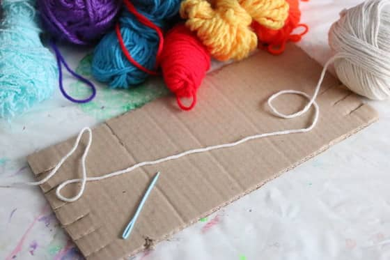 Supplies cardboard weaving loom
