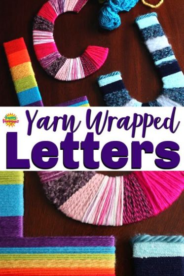Yarn Wrapped Letter Craft for kids