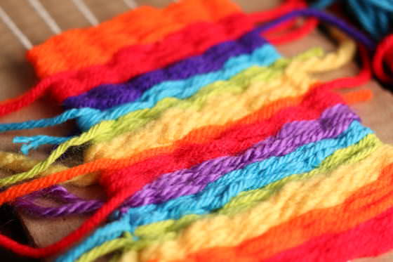 closeup rainbow weaving