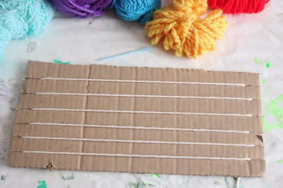 homemade cardboard weaving loom