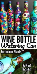 Painted Wine Bottle Indoor Watering
