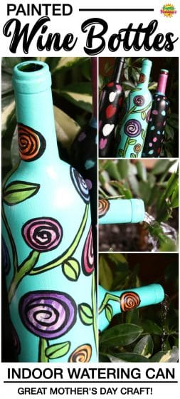 PAINTED WINE BOTTLES - MOTHER'S DAY CRAFT