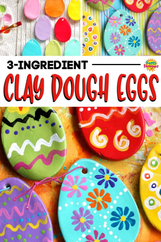 Painted Clay Dough Easter Eggs Collage