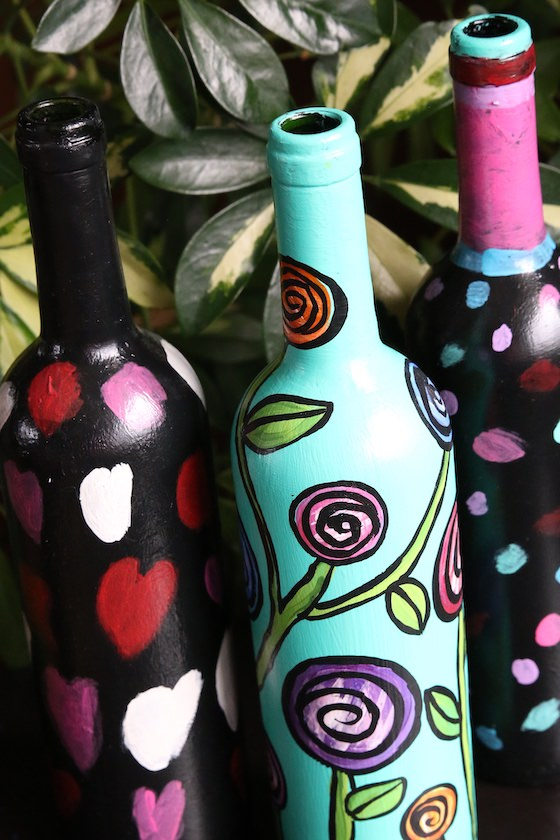 wine bottles painted with acrylic paint