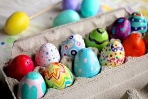 Painted Plastic Easter Eggs in Egg Carton