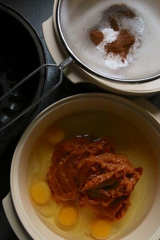 Pumpkin eggs flour sugar and spices