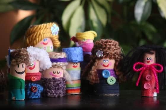 Cardboard roll doll family